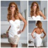 Stylish Design Sexy Taffeta 2013 Short White Cocktail Dresses