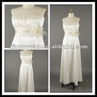 Most Popular Ivories Ruffle Satin Sleeveless Spaghetti Strap Bridesmaid/Formal Party Dress XYY-mal29
