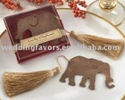 """Lucky Elephant"" Metal Bookmark with Elegant Gold Silk Tassel"