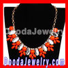red Crystal Resin Beads Flower Choker Bib Necklaces Wholesale JW0076-2