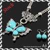 Bridal Jewelry Set Vintage Tibetan Silver Butterfly Howlite Turquoise Necklace Earrings Set AS1648