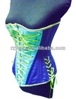 Blue/Purple Satin with Green Ribbon Corset