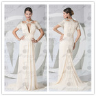 Real photo new design halter cap sleeve and beading sweep train evening dress