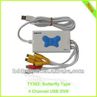 4 channel usb dvr for elegant butterfly design,4ch usb2.0 easycap,4ch usb video capture card