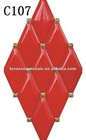 Red Diamond Shaped Ceramic Art Wall Tiles