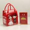 printed paper wedding gift box for candy with nylon handle