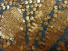 polyester/rayon/spandex knitted fabric with 3mm+7mm sequins embroidery fabric