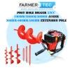 52CC PETROL POWER 2 STROKE GARDEN POST HOLE DIGGER BORER EARTH AUGER DRILL 100/200/300MM BITS 300/400/500MM EXTENSION SHAFT