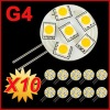 10 x G4 6 SMD LED Warm White Light Bulb Lamp 12Volt DC