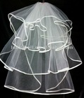 New arrival Gift Unique Three-layer Ribbon Edge Wedding Veil