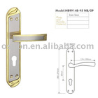 Iron door lock,door hande on plate,lever on plate