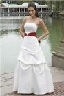 A-Line Strapless Straight Neckline Pick Up Skirt Satin Bridesmaid Dress BD089