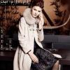 Woman High Quality Detachable Fox Fur Collar Wool Coat 02104006