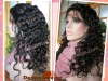 Factory Wholesale Price #1B Curly Indian Remy Hair Full Lace Wig With Baby Hair