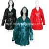 100% shinning PU ladies raincoat