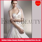 Charming tulle off white long ribbon edge indian bridal veil