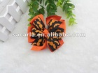 "4"" Two Tone Color Girls's Halloween Hair Accessories Pinwheel Hairbow in Orange /Black"