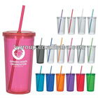 BPA FREE 16oz double wall arcylic straw tumbler for christmas promotion