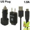 US Plug High Performance Monie 1.5A 3 in 1 USB Travel+USB Car Charger for Samsung Galaxy Note/i9220/N7000/i9100/S5830