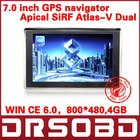 7'' inch GPS navigation APICAL SiRF Atlas-V Dual core CPU WIN CE 6.0 800MHz DDR 128M 4Gb memory+FM+Free map+800*480