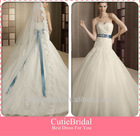 Custom Made Sheath Bodice With Appliqued Beaded Blue Ribbon Tulle Skirt New Style Wedding Dress 2013