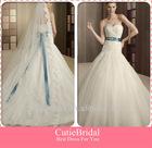 Custom Made Sheath Bodice With Appliqued Beaded Blue Ribbon Tulle Skirt New Style Wedding Dress 2013