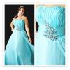 2012 New Arrival PED-007 Zhenzhen Organza Beaded Sky Blue Plus Size Evening Dress