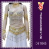 White belly dancing costume dress, beaded tops and skirt