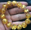 14mm round carved golden dragon rock crystal beads bracelet