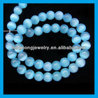 8mm round cat eye aqua gemstone beads HJ1052
