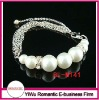 hot sale pave chain link bracelet with pearl