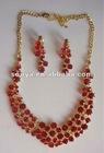 red rhinestone jewellery set