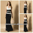 New Arrival Halter Sexy V-Neck Sheath Satin Lace Charming Black And White Evening Dress