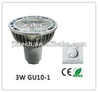 110-240V 3*1W LED GU10 dimmable with standard TRIAC dimmer switch