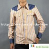 Men's Stripe Contrast Color Embroidery Long Sleeve New Shirt