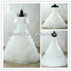 spain layer organza spaghetti strap wedding dresses with jacket WY10086