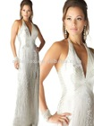 Refined White/Silver Halter Top Asymmetric Sequins Circular and Swirls and at the Slitted Skirt Pageant Evening Gown