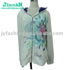Women's sweatshirts of color flowers printed fleece hoody