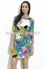2012 Sping Perfect Printed Long Sleeve Silk Jersey Dress 0308EP257