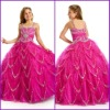 Custom-made 2011 red A-line straps tulle satin beaded sequins pleat Flower Girl Dresses