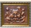 Antique bronze relief sculpture in wall
