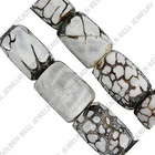 Leopard agate beads, tube, 18~22x12~13mm, sold per 15.5-inch strand