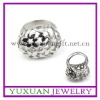 hot sell women's fashion stainless steel o ring with flower