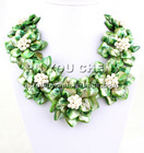 Green MOP Shell&White FW Pearl flower necklace earings set 18""
