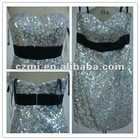 Balck and Whtie Girls Sequin Top Prom Dress For Cheap