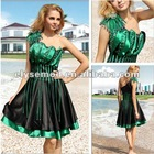 Bewitching Looking A-line Two Tones Satin One Shoulder Knee Length Party Dresses