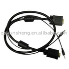 VGA Cable w/3.5mm Stereo Plug, molding type