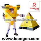 Loongon transformer toys switching between robot and Pyramid with sound and light robot