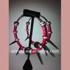Crystal Rondelle Spacer Beads with Spike Black Hoop Earring