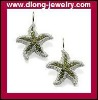 TM170 Fashion TMS Starfish With Diamond Charm Drop Earrings,Wholesale 925 Silver Jewelry
